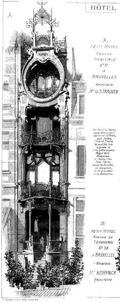 Art Nouveau - Maison Saint Cyr (Source 'Site de l'Inventaire du Patrimoine Architectural de la Région de Bruxelles Capitale') - Illustration