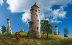 Towers in the field 1920x1200 Fantasy Wallpaper