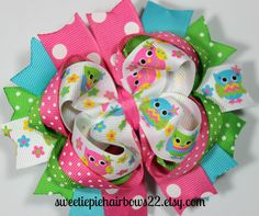 Owl Hair Bow Deluxe Boutique Hairbows by sweetiepiehairbows22, $8.99