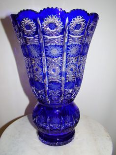 Caesar Crystal Bohemian Czech Exquisite Cobalt Blue Cut to Clear Crystal Vase12""