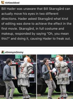 The 2 Bills getting along on the set of IT Chapter 2 (Repost after original post was removed) Stupid Funny Memes, Haha Funny, Funny Posts, Funny Quotes, Funny Humor, Scary Movie Memes, It Memes, Funny Stuff, Freaking Hilarious