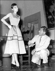 Salvatore Ferragamo with Audrey Hepburn.