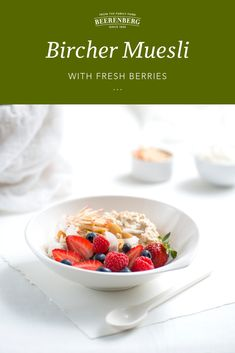 A simple and delicious breakfast. Best made overnight (great if you love to meal prep), simply add all the ingredients to a bowl and let set. Top with berries and breakfast is served!   Click the image to download the recipe from our FREE 100 recipes eBook. Vegetarian Tart, Bed Recipe, Bircher Muesli, Breakfast In Bed, Lunch Recipes, Cool Things To Make, Meal Prep, Berries, Yummy Food