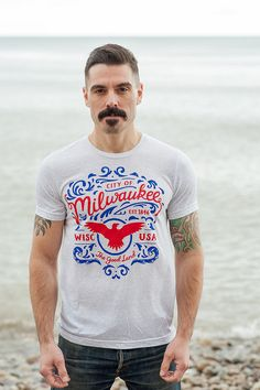 Limited Edition: The Good Land Milwaukee T-Shirt in White. Vintage Style Soft Screenprinted Midwest Unisex, Men's T-Shirt and Women's Tee.