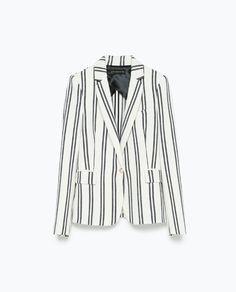 In love with this blazer Blazers, Striped Blazer, Zara United States, Business Attire, Leather Fabric, Zara Women, Boss Lady, Star Fashion, Jackets