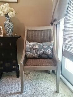 AVANA DESIGN custom distressed painted chair and custom pillow in Robert Allen's Neo Toile Chinoiserie Blue.
