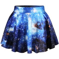 Blue Sexy Galaxy Pleated Womens Skirt ($10) ❤ liked on Polyvore featuring skirts, mini skirts, bottoms, galaxy, pants, blue, blue pleated mini skirt, pleated skirt, galaxy print skirt and galaxy skirt