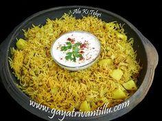 Alu Ki Tehri - Potato Rice - Indian Recipes - Andhra Telugu Food - YouTube Spicy Rice Recipe, Rice Recipes, Andhra Recipes, Indian Food Recipes, Mexican Fried Rice, East Indian Food, Kimchi Fried Rice, Potato Rice, Peeling Potatoes