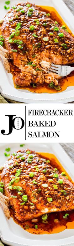 Perk up your dinner tonight with this firecracker baked salmon Red pepper flakes and Sriracha sauce provide this salmon with some fiery flavor that give this salmon its n. Salmon Dishes, Fish Dishes, Seafood Recipes, Cooking Recipes, Healthy Recipes, Best Fish Recipes, Cocina Natural, Seafood Dinner, Seafood Market