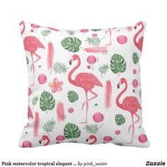 Pink watercolor tropical elegant flamingo floral