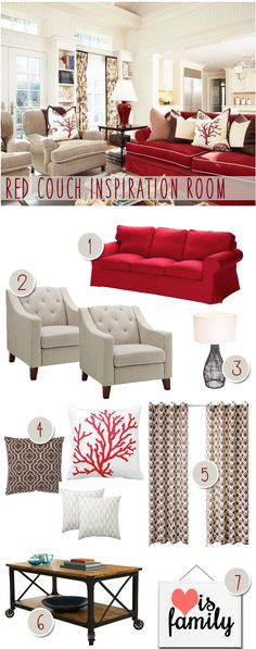 Red Couch Living Room. Coral Pillows. Modern Farmhouse