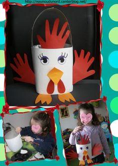 Panier d'Annalisa pour Pâques en forme de poule , explications sur mon blog