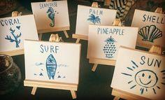 @sealoveweddingのInstagramアカウント: 「すごく下手っぴだけど( ˃̣̣̥ω˂̣̣̥ )テーブルナンバーを作ってみました! 番号以外のものにしたかったから、海に関連するイラストで席わけしちゃうコトに♡…」