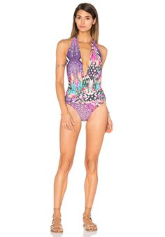 36214a153a4bd Trejoa Deep V One Piece in Navi Pink