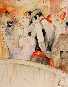 Jeanne Mammen (German, 1890 – 1976)  Karneval, c. 1931  Watercolor and pencil on paper. Depicting the social emacipation of women in Weimar republic Germany.