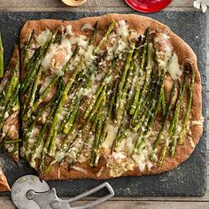 Roasted Asparagus and Fontina #Pizza + 7 Fresh and Healthy Vegetable Pizza #Recipes | health.com