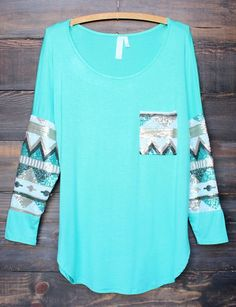 Blue Patchwork Print Glitter Sparkly Pockets Long Sleeve Loose Casual Cotton T-Shirt