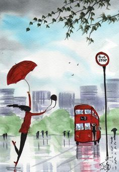Original Signed Watercolour Painting ~ Running Late ! ~ By KJ CARR
