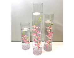 Submersible Pink/Light Pink/Red Yellow Star Flower Floral Wedding Centerpiece with Floating Candles and Acrylic Crystals Kit Cylinder Vase Centerpieces, Water Centerpieces, Silk Flower Centerpieces, Terrarium Centerpiece, Terrarium Wedding, Wedding Centerpieces, White Cherry Blossom, Blue Cherry, Eiffel Tower Vases
