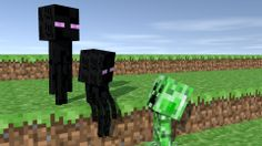 Two Enderman kids chilling until a Creeper comes up to them :P This is very old by the way, note the texture bug. I will re-do some shots like this!