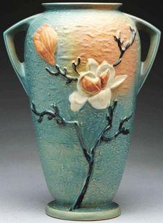 Roseville Blue Magnolia Floor Vase
