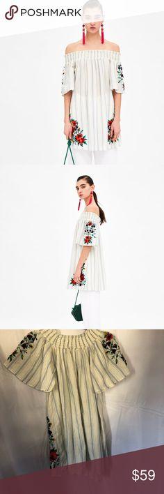 4d06354b9b1 Zara Stripe Dress Brand new Zara Embroidered Striped Floral Dress Size  XSMALL. A Striped off