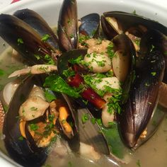 """Mussels, Enamel Venus Shells And Baby Clams in spicy white wine sauce """"Delicatezza"""""""