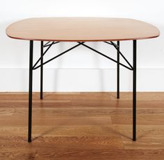 André Simard; #135 Enameled Metal and Laminated Wood Table for Meubles T.V., 1953.