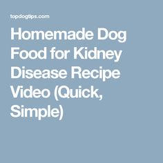Homemade Dog Food for Kidney Disease Recipe Video (Quick, Simple)