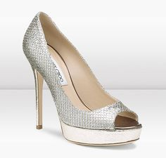 Ooooo Wedding Shoe Glory!!  Jimmy Choo | Crown | Glitter Fabric Peep Toe Platform Pumps | JIMMYCHOO.COM