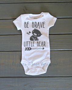 Be Brave Little Bear Onesie, Unisex Kids Clothing, Baby Shower Gift, Tribal onesie, Woodland onesie, Bear Onesie