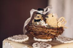 little love birds sit in a straw nest for a rustic cake topper - thereddirtbride.com - see more of this wedding here Rustic Cake Toppers, Happy Colors, Nest, Wedding Cakes, Stuffed Mushrooms, Birds, Weddings, Desserts, Food