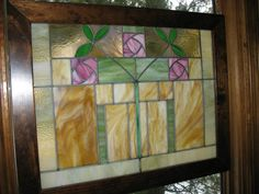 """Beautiful old Arts and Crafts style stained glass window, 30"""" x 24"""" outside frame dimensions. ( glass 26"""" x 20""""). Turn of the century entry/ fireplace window in traditional bungalow style, with 3 pink roses."""