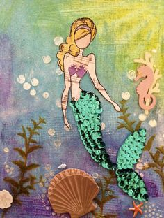 Julie Nutting Doll Stamp - Mermaid Used sequence for the scale-look on the body/tail. Used stencils to create bubbles and flourish with the Viva paste and spritzed with Dylusions & Tattered Angels mists, as well as Faber Castell Gelatos, and a touch of plasterer's tape, to create the background.