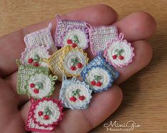 Set of 2 miniature tiny crochet potholders with cherries for dollhouse scale Crochet Potholders, Crochet Squares, Crochet Doilies, Crochet Pillow, Mini Doll House, Dollhouse Accessories, Miniature Crafts, Tiny Treasures, Dollhouse Miniatures