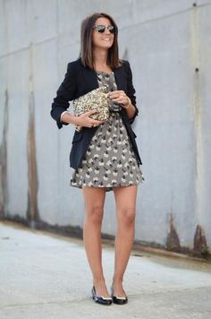 patterned dress / blazer / sparkly clutch