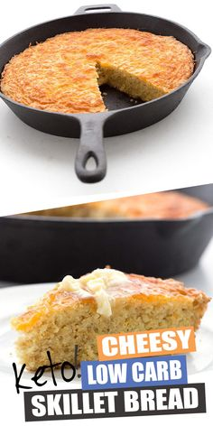 This easy keto Cheesy Skillet Bread is the BEST! It's like cornbread but without the corn and the edges get so deliciously crispy. It also makes fabulous Thanksgiving stuffing. You've got to try it! #skilletbread #ketobread #cornbread #stuffing #grainfree #ketobreadrecipes