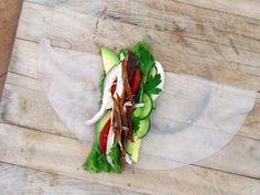 Cobb Salad Summer Roll, open