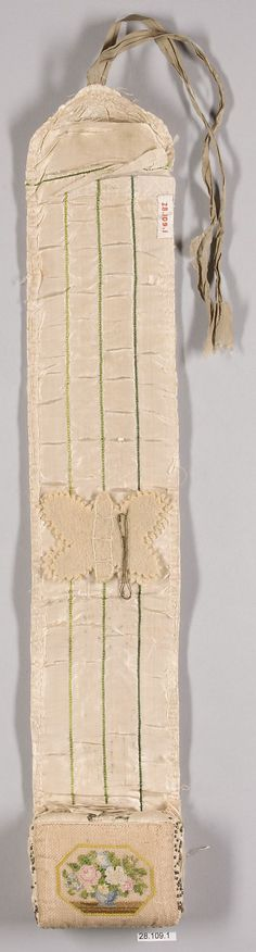 Needlecase, Metropolitan Museum of Art; French, 1805-1810, canvas & silk; 21 x 3-1/4 inches