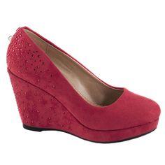 Pantofi cu platforma D76-ROSU - Reducere 50% - Zibra.ro Wedges, Shoes, Fashion, Moda, Zapatos, Shoes Outlet, Fashion Styles, Shoe, Footwear