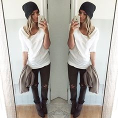Slouchy beanie, distressed skinnies & chunky scarf ootd // Fall style // A.Co est. 1984