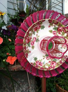 Repurposed Glass Flower 'JUST ROSY' Yard Art ............................................... by plates2petals (via Etsy)