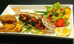 Callaloo stuffed red snapper  #jamaicafood #jamaica #callaloo #redsnapper Jamaica Food, Red Snapper, Food And Drink, Meat, Chicken, Beef, Cubs