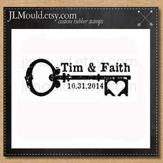 0240 JLMould Key to my Heart Custom Stamp Wedding Invitations Save the Date RSVP Date Wedding Favors