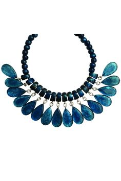 Collier multi pampilles en résine - Couleur : Denim - Dominique Denaive