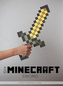 My girls love minecraft. Kid Inspiration - All for the Boys - Digital To Real Life: DIY Minecraft Sword Minecraft Sword, Minecraft Mods, Minecraft Crafts, Minecraft Printable, Minecraft Skins, Minecraft Buildings, Crafts For Boys, Fun Crafts, Minecraft Decoration