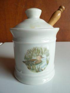 Ancien moutardier pot à moutarde en céramique décor de canard, french antique.