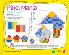 Adesivos Pixel Mania quadradinho em quadradinho seu desenho aparece! Ajuda na percepção visual e motricidade fina.   Características do Produto 3 cartelas quadriculadas para colar adesivos e formar desenhos. (19,5 x 15, 5 cm). 2 cartelas com adesivos quadradinhos de cores variadas. + 3 (Recomendando para crianças maiores de 3 anos de idade).