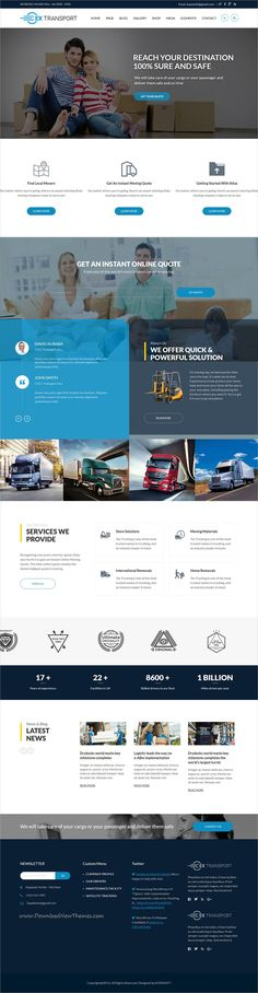 Extransport is clean and modern design 3in1 responsive #WordPress theme for freight, #logistics and transportation company website download now..