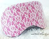 Elegant couture lace eye mask in fuscia pink ~ perfect for travel, sleeping, or as a gift.  Fleece backing is soft & soothing to the eyes. Lingerie stretch strap is perfect for a comfortable fit. Extra cushion of a middle layer of fleece is light blocking for a very dark sleep or travel.  ~ Handcrafted for immediate shipping ~